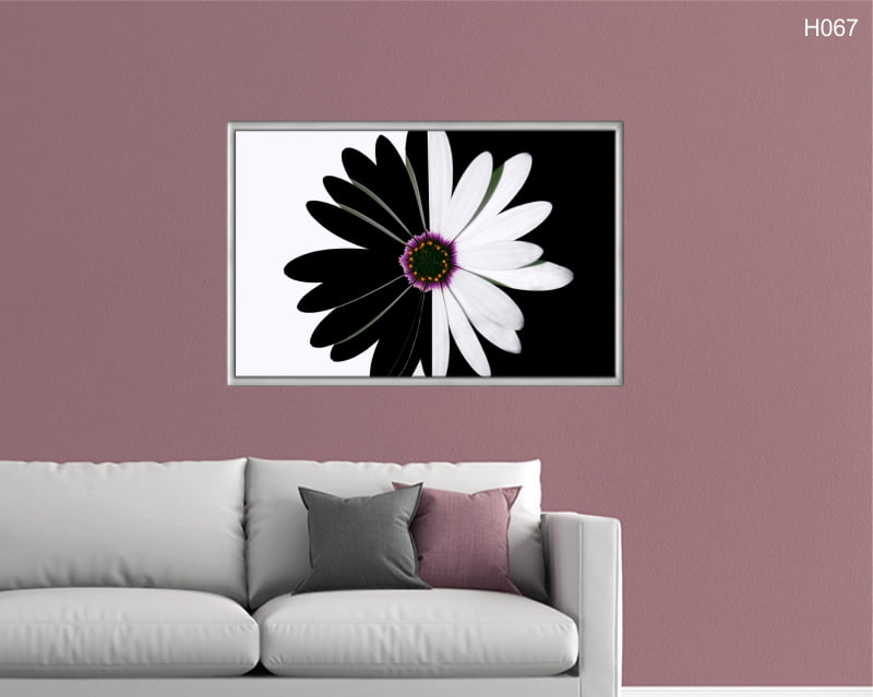 Quadro Decorativo Flor Preto e Branco