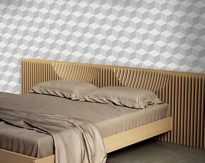 Papel de Parede Adesivo Abstrato Geométrico Cubos 3D