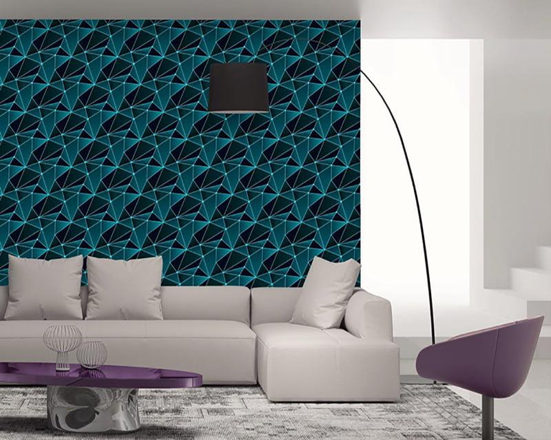 Papel de Parede Adesivo Abstrato Polígono Tons Azuis