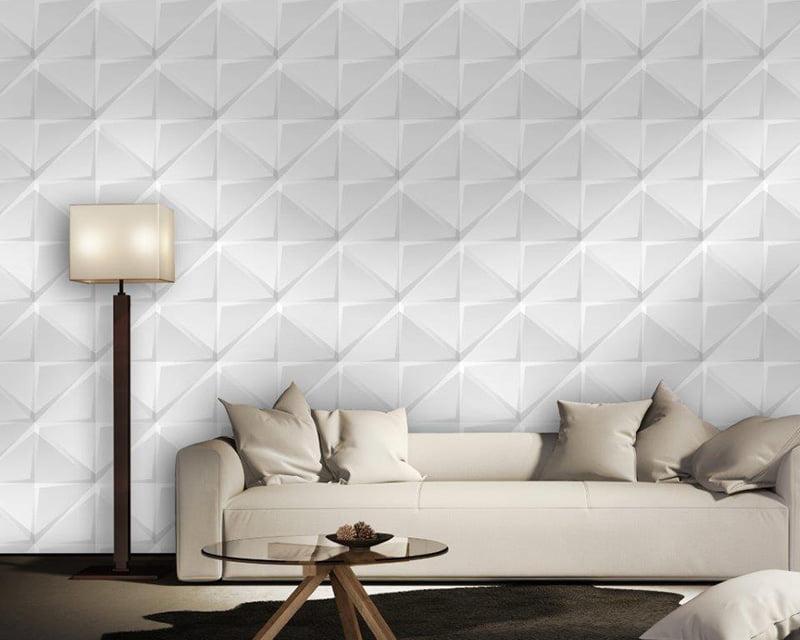 Papel de Parede Adesivo Abstrato Quadrado e Triângulo 3D Branco