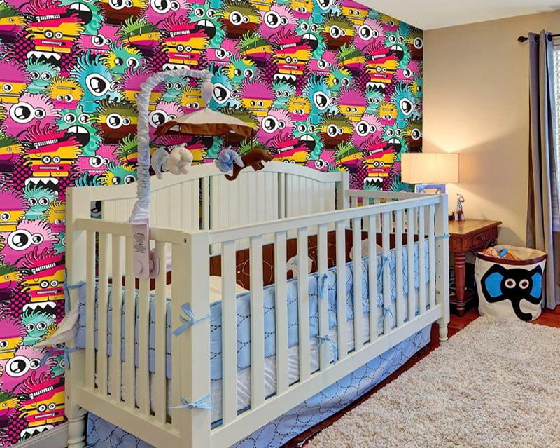 Papel de Parede Adesivo Infantil Monstrinhos Coloridos