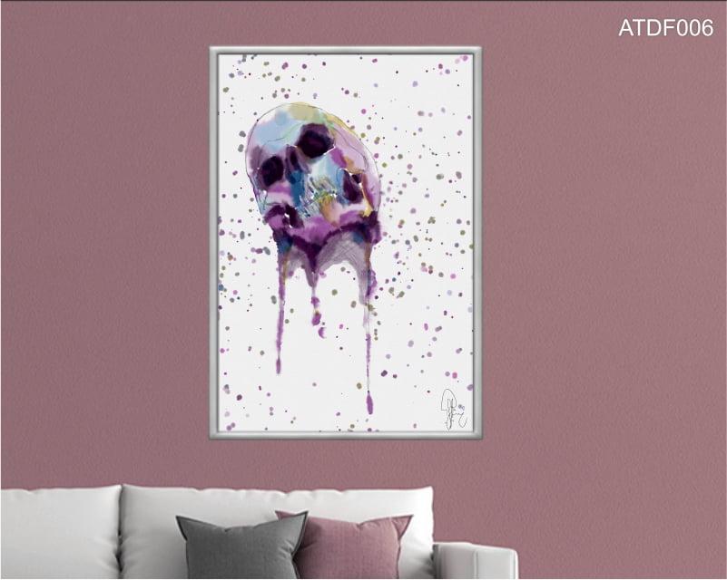 Quadro decorativo-Melted Skull_aquarela-Por Dado Ferrari