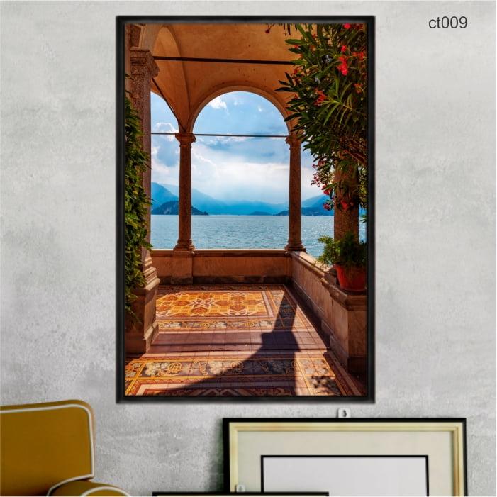 Quadro decorativo - Varanda Lago de Como Itália ct009