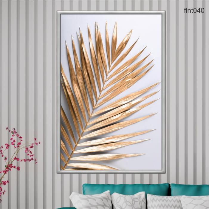 QUADRO DECORATIVO -Folha de palmeira tropical dourada