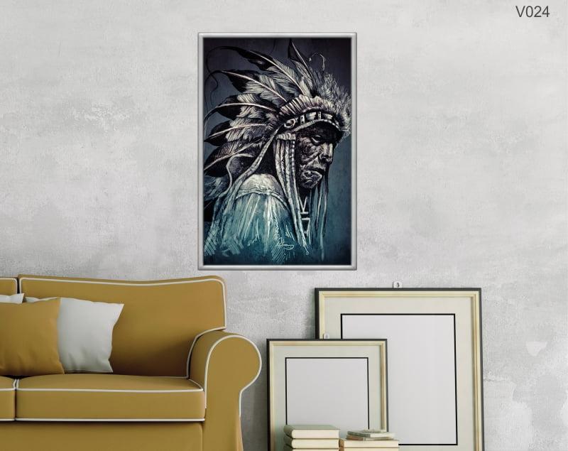 Quadro Decorativo Índio Perfil