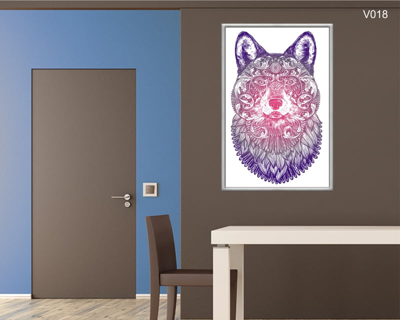 Quadro Decorativo Lobo Ornamental