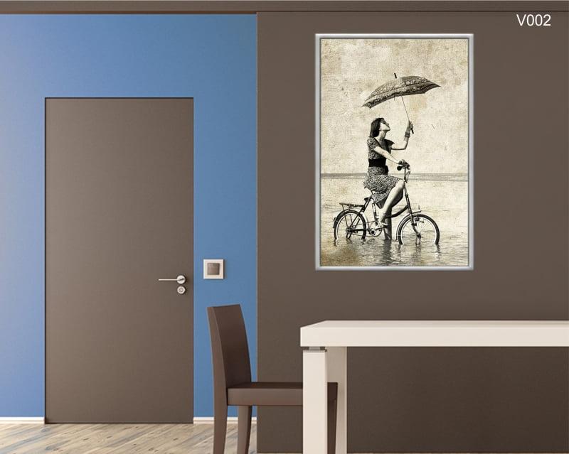 Quadro Decorativo Menina na Bicicleta Vintage