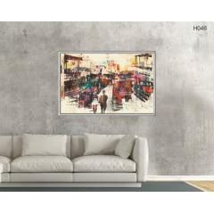 Quadro Decorativo Cais do Porto Barcos Coloridos