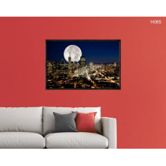 Quadro Decorativo Lua Cheia na Metrópole