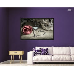 Quadro Decorativo Rosa e Crânio