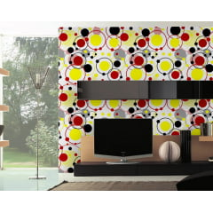 Papel de Parede Adesivo Abstrato Círculos Conectados Branco, Preto, Vermelho, Amarelo