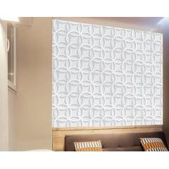 Papel de Parede Adesivo Abstrato Círculos Intercalados 3D Branco