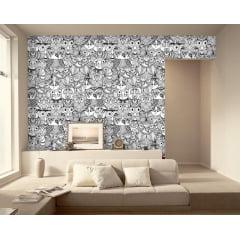 Papel de Parede Adesivo Abstrato Corujas Preto e Branco