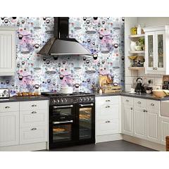 Papel de Parede Adesivo Abstrato Cozinha Ilustração em Papel