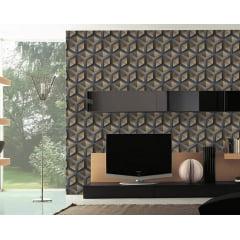 Papel de Parede Adesivo Abstrato Cubos 3D Chumbo e Dourado