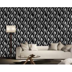 Papel de Parede Adesivo Abstrato Folhas Onduladas Preto e Branco
