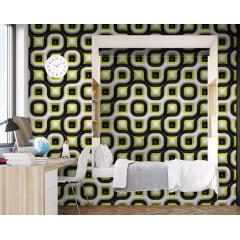 Papel de Parede Adesivo Abstrato Moderno Preto, Branco e Amarelo