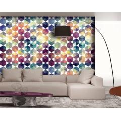 Papel de Parede Adesivo Abstrato Mosaico Colorido Azul, Roxo, Amarelo