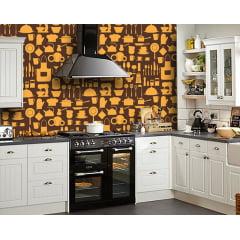 Papel de Parede Adesivo Abstrato Utensílios Cozinha Marrom e Amarelo