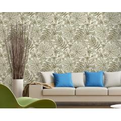 Papel de Parede Adesivo Floral Bege com Verde Escuro ppf013