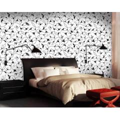 Papel de Parede Adesivo Floral Branco com Preto ppf011