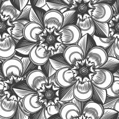 Papel de Parede Adesivo Floral Preto e Branco ppf025