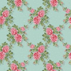 Papel de Parede Adesivo Floral Rosa com Turquesa ppf005