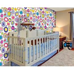 Papel de Parede Adesivo Infantil Círculos Coloridos Abstratos
