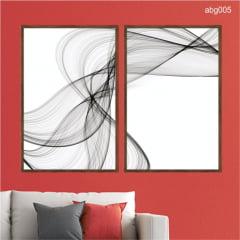 KIT 2 QUADROS DECORATIVOS - ABSTRATO PRETO E BRANCO ABG005