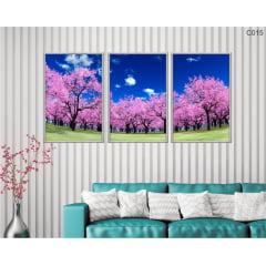 Conjunto de quadros -  cerejeiras rosa céu limpo