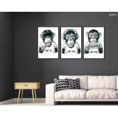 Conjunto de quadros - Don´t see, Don´t hear, Don´t speak - Monkeys - Preto e Branco