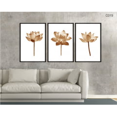 CONJUNTO DE QUADROS - Flor de lotus bronze minimalista c019