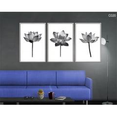 CONJUNTO DE QUADROS - Flor de lotus minimalista pb c020