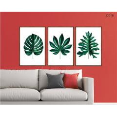 Conjunto de quadros - Folhas tropicais c016