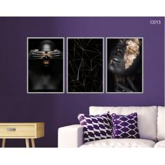 Conjunto de quadros -  mulher dourado