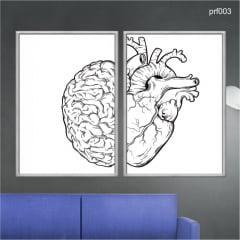 KIT 2 QUADROS DECORATIVOS - PSICOLOGIA - RAZAO X EMOÇÃO - CEREBRO E CORAÇÃO