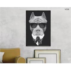 Quadro Decorativo Cão Mafioso v036