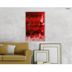 Quadro Decorativo Pintura Abstrata Vermelha